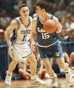 Dan Hurley goes up against his brother, Bobby,  as Seton Hall faced Duke early in his college career.