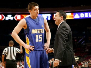 Fordham head coach, Tom Pecora, mentors a freshman version of Halil Kanacevic when the two were at Hofstra.