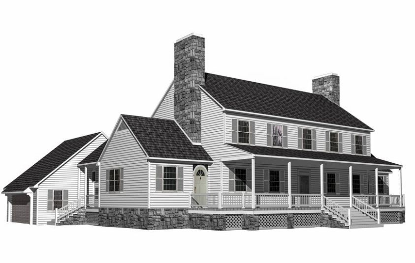 3D Illustration of a house on a white background, with the isolation work path included in the file.