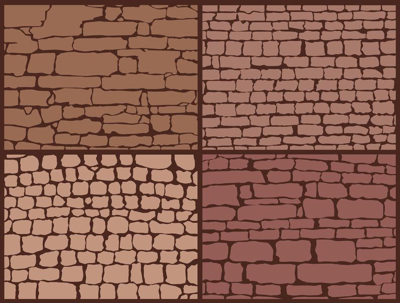 Stone masonry set. Stone Wall Composition Set.