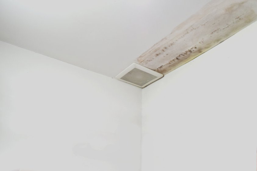moisture in the ceiling showing there is damage in the roof