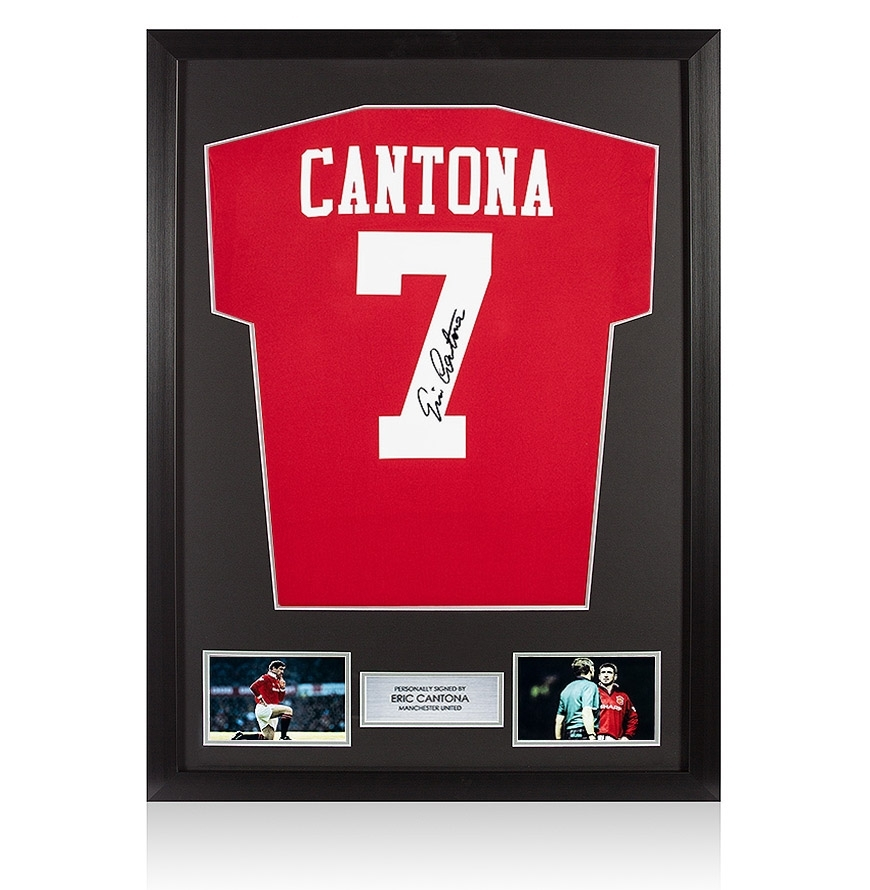 These modern manchester united shirts are printed with the cantona number 7 and signed by eric in black permanent marker pen. Framed Eric Cantona Signed Manchester United Shirt - Retro ...