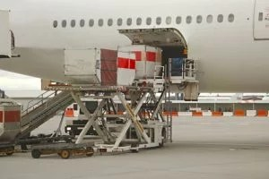 Cargo being loaded into aircraft