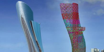 """La ilustre torre icónica de 35 pisos de 525 pies en Abu Dhabi Con una inclinación de 18 grados hacia el oeste, este edificio ha sido nominado como """"el edificio más inclinado del mundo"""""""