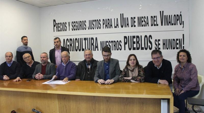 ASAJA Alicante apoya las movilizaciones que se van a organizar en protesta por la situación de crisis estructural que sufre la uva de mesa del Vinalopó