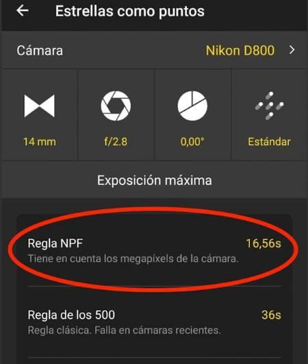 Regla NPF vs. Regla de los 500 en la app de Photopills