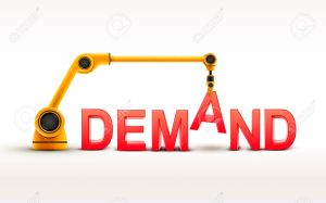 industrial robotic arm building DEMAND word on white background