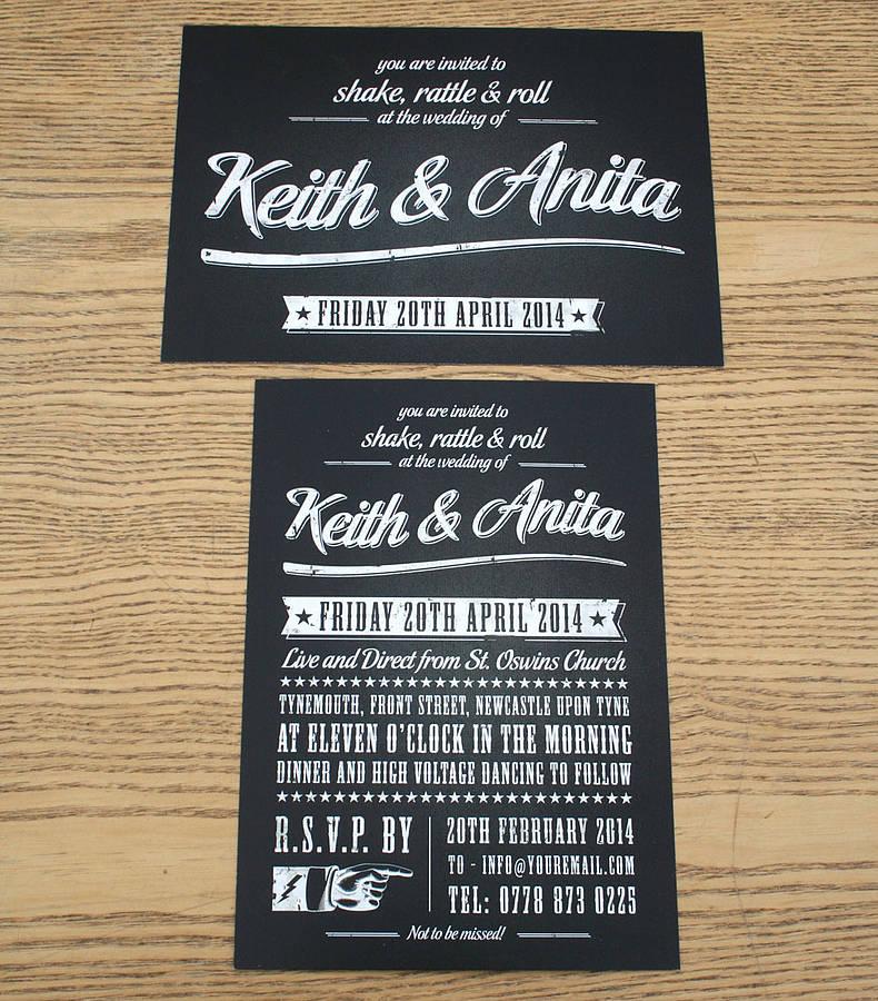 Rolled Wedding Invitations: Rock N Roll Wedding Invitations