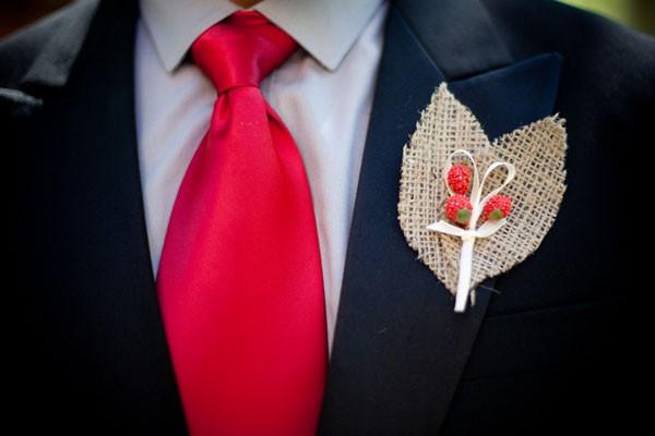 Wedding Groom Boutonnier Tie