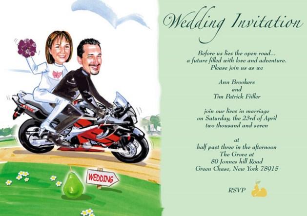 Motorcycle theme funny wedding invitations