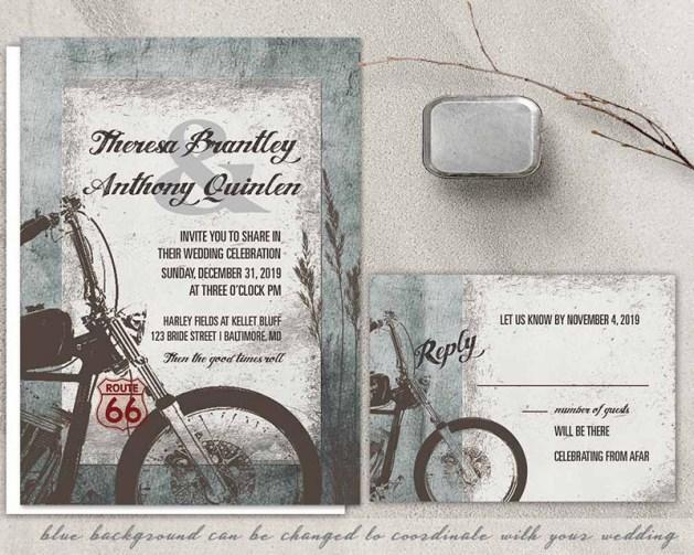 Motorcycle theme wedding invitations