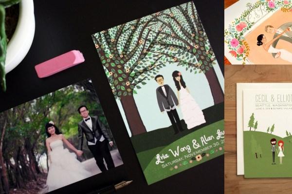 Custom illustration Wedding Invitations | A2zWeddingCards
