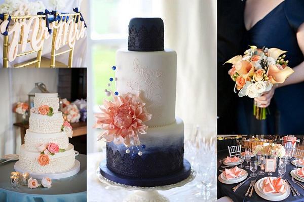 peach and light blue wedding cake navy blue and wedding theme wedding cards 18131