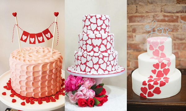 1. Valentine Theme Wedding Cake - A2zWeddingCards