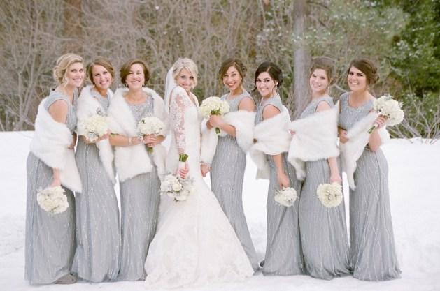 fur in bridesmaid dresses
