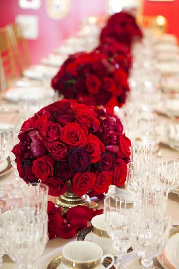 Red flower centrepieces