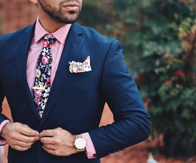 stylish navy-blue suit