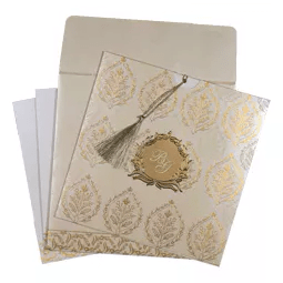 IVORY SHIMMERY UNIQUE THEMED - FOIL STAMPED WEDDING CARD : AW-8249B-A2zWeddingCards