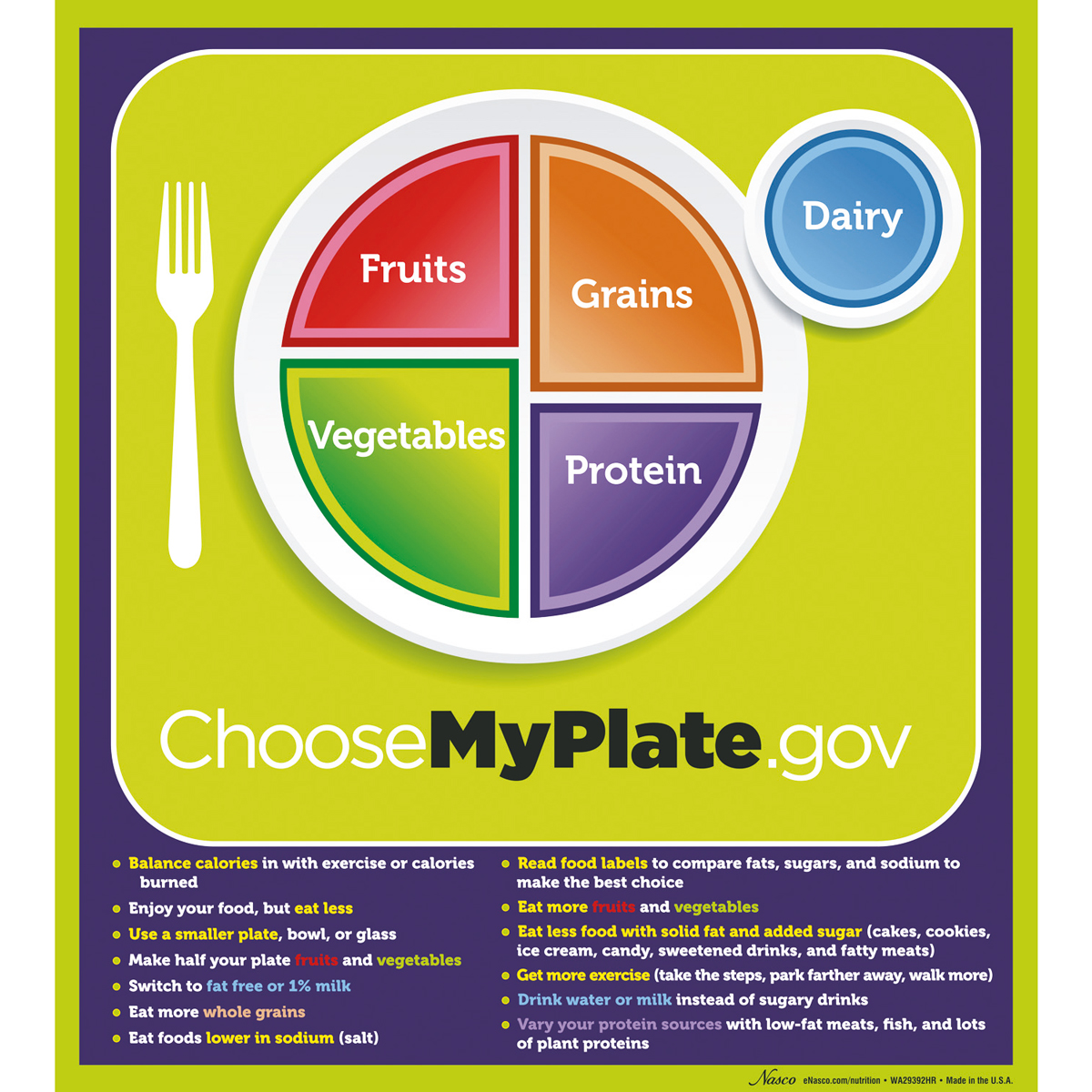 Myplate Poster With Key Phrases