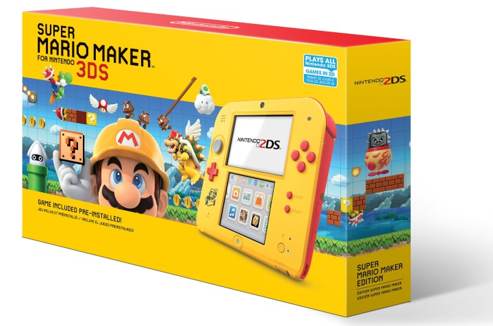 yellow-and-red Nintendo 2DS system with the Super Mario Maker for Nintendo 3DS game pre-installed