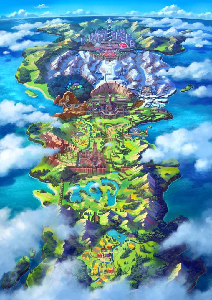 Pokémon Galar Region Map