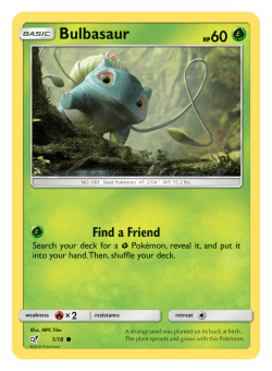 Pokemon TCG Detective Pikachu Bulbasaur Card
