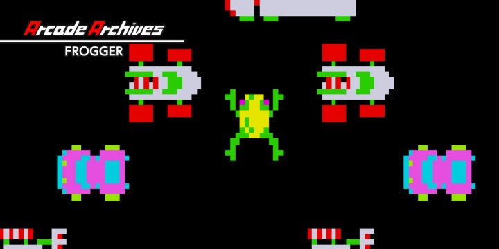 """FROGGER"" is an action game released by KONAMI in 1981.  Guide a lost frog to the house on the other bank within the time limit.  There will be many obstacles to overcome on the way home.  Time your way safely across dangerous roads full of cars and rivers where alligators and snakes lie in wait.  The ""Arcade Archives"" series has faithfully reproduced many classic Arcade masterpieces.  Players can change various game settings such as game difficulty, and also reproduce the atmosphere of arcade display settings at that time. Players can also compete against each other from all over the world with their high scores.  Please enjoy the masterpiece that built a generation for video games."