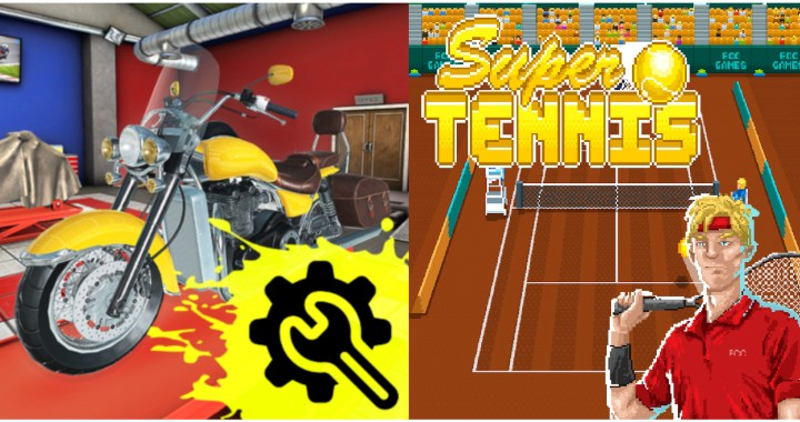 Super Tennis and Motorcycle Mechanic Simulator