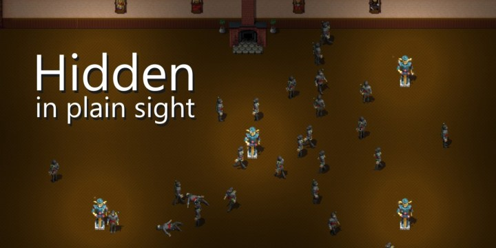 """Hidden in Plain Sight is a set of local multiplayer (2-4 players) game modes that share a common theme: trying to accomplish goals without drawing attention to yourself.  In each game mode, players control characters in a sea of identical NPCs. Players are given a task, but also the means to eliminate each other from the game. The goal is to blend in with the NPCs, accomplish the task at hand, and take out other players before they get you.  One of the simplest game modes is called """"Death Race."""" Players and NPCs are racing to be the first to cross a finish line. Each player has a gun with one bullet, and can eliminate one person from the race. Do you sprint ahead, calling attention to yourself but maximizing you chances of winning? Or do you hang back with the pack?  Other game modes create similar tension by putting players in a conflicted position of wanting to accomplish a goal, but risking elimination by doing so.  Rounds are quick and lively, and always end in laughter and friendly shouting. So grab your controllers and friends and give it a shot!"""
