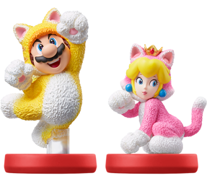 New amiibo figures for Cat Mario and Cat Peach, which offer in-game enhancements for Super Mario 3D World + Bowser's Fury