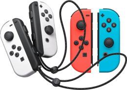 White Joy-Con controllers and Neon red and neon blue Joy-Con controllers