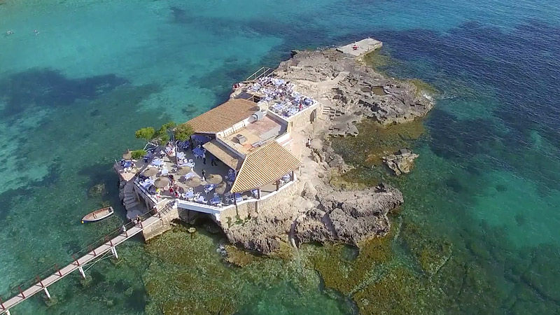 Offshore cafe in Majorca filmed from DJI Inspire 1 Pro