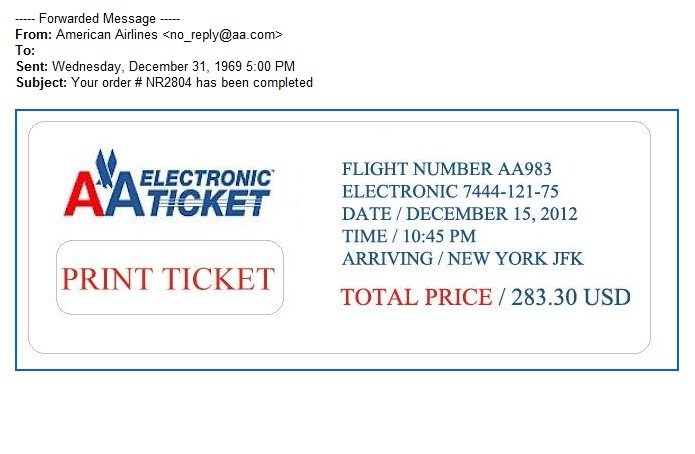 American Airlines E Ticket Confirmation