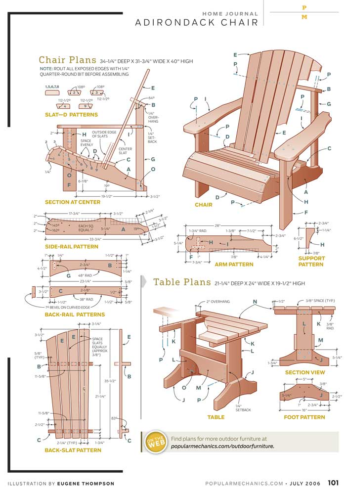 adirondack furniture plans patterns