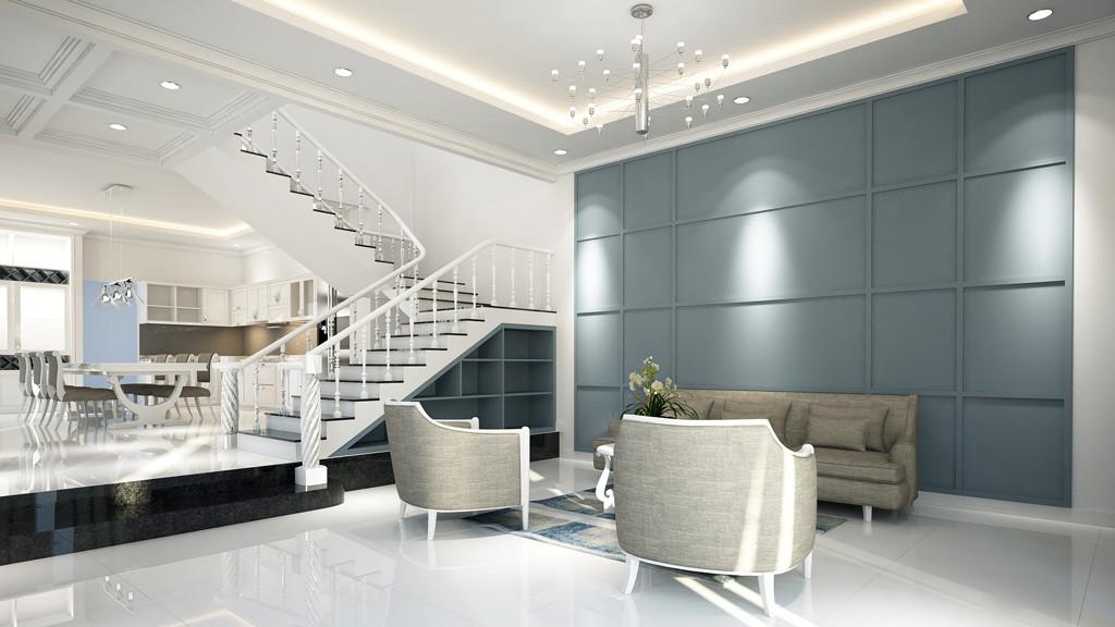 villa interior design 3d model for sitting area