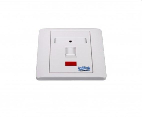 AABTools | INFILINK IP-FPBS1P Infilink Face Plate, 86 X 86 UK Style, Single Port, Shuttered, No Keystone Jack
