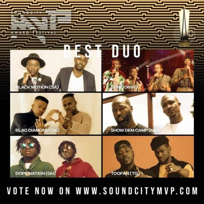 DopeNation Nominated For The 2020 SoundCity MVP Award Festival