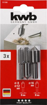 Forsænkersæt 3 Dele Til Træ Og Metal værktøj