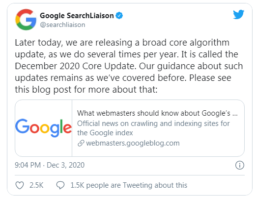 google announce December 2020 core update by twitter