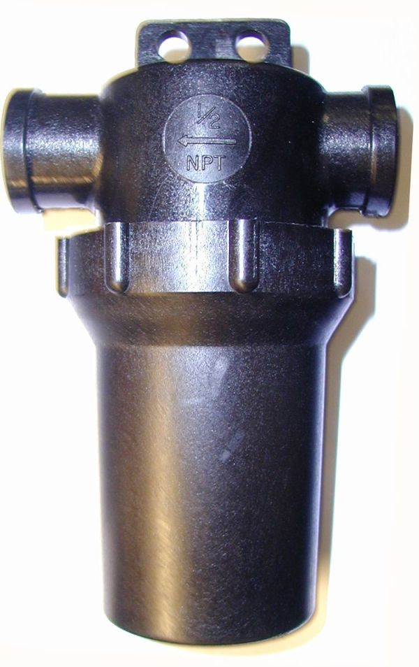 """3/4"""" F x F Inline Filter - black with hanger tab - 50 mesh screen"""