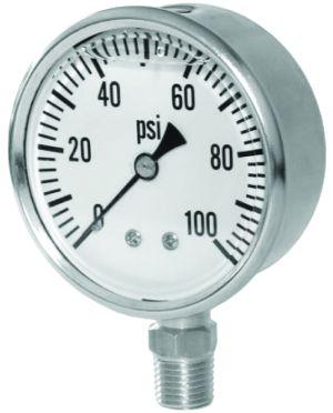 """2.5"""" Glycerin Filled Pressure gauge-bottom mount, 0-160 PSI"""