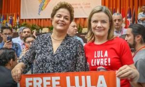 Dilma: Lula não pode ser cassado ainda por não ser candidato. Gleisi: Lula deve ser solto já por ser candidato. Foto: Ricardo Stuckert