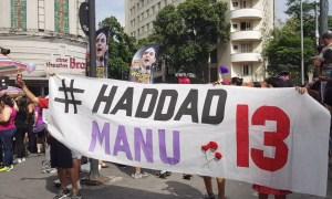 Protesto do #EleNão no centro de BH neste sábado (29): claramente apartidário? Foto: Cedê Silva/A Agência