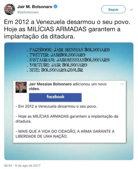 Screenshot do tweet de Jair Bolsonaro