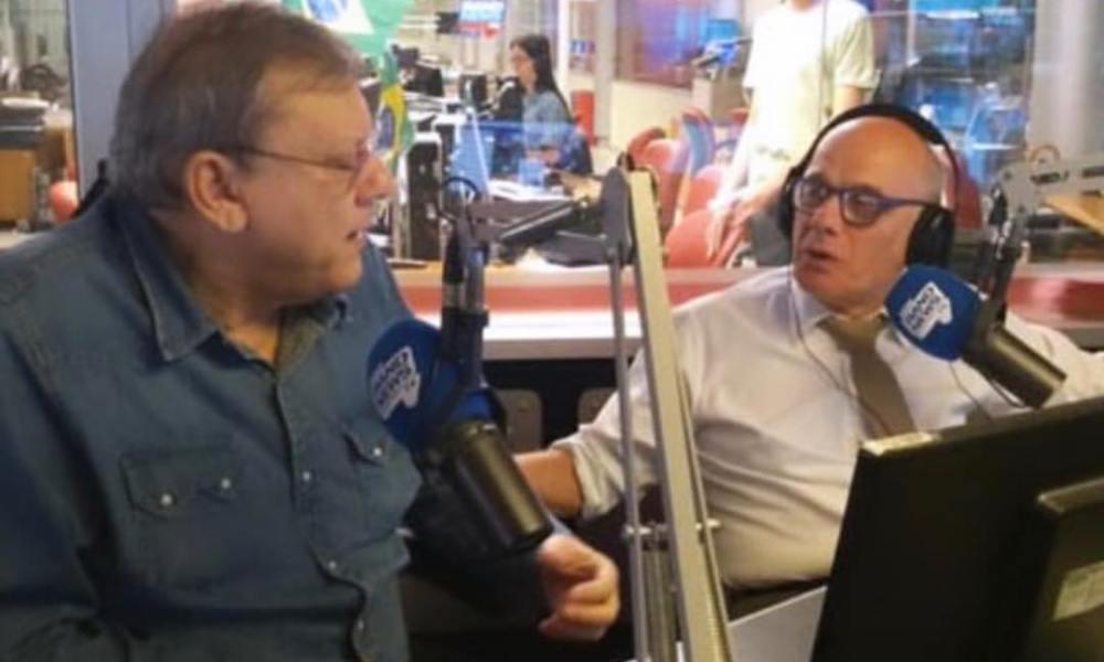 'Merchan Neves' com Boechat na BandNews FM: aqui não. Foto: Instagram/Milton Neves