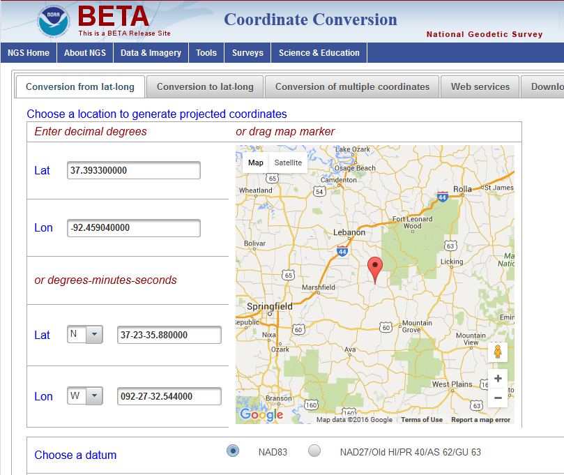NGS Announces Beta Coordinate Conversion Tool