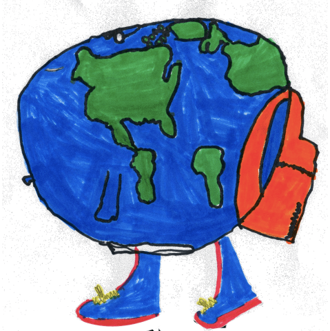 Globe with a backpack