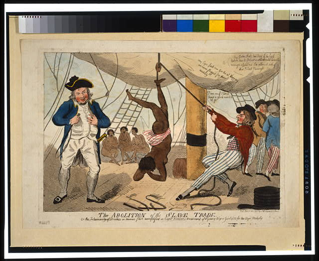 Print shows sailor on a slave ship suspending an African girl by her ankle from a rope over a pulley. Captain John Kimber stands on the left with a whip in his hand.
