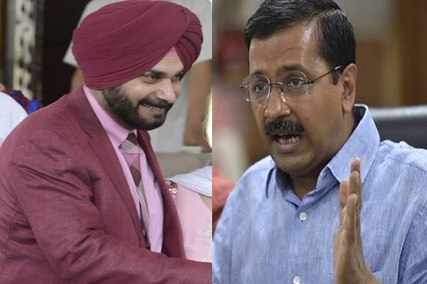 Image result for kejriwal and sidhu