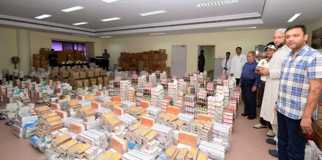 asaduddin owaisi sends relief for flood affected people in bihar
